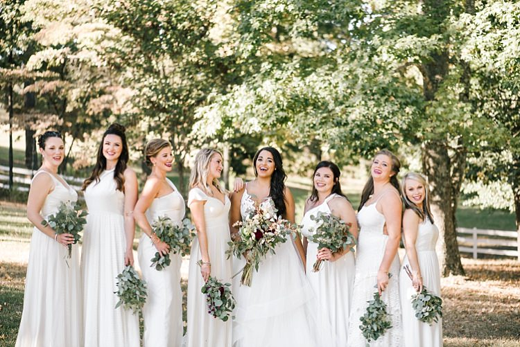 Bride Ivory Lace Tulle Haley Paige Bridal Gown Bridesmaids Ivory Dresses Different Styles Fresh Wild Floral Eucalyptus Bouquets Whimsical Boho Outdoor Wedding Alabama http://belightphotography.com/