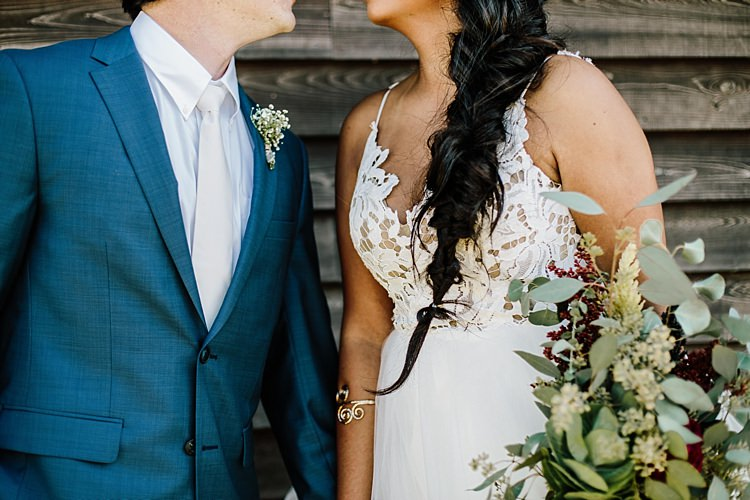 Bride Lace Tulle Bridal Gown Loose Braid Fresh Wild Floral Eucalytpus Bouquet Groom Navy Blue Suit Ivory Tie Whimsical Boho Outdoor Wedding Alabama http://belightphotography.com/