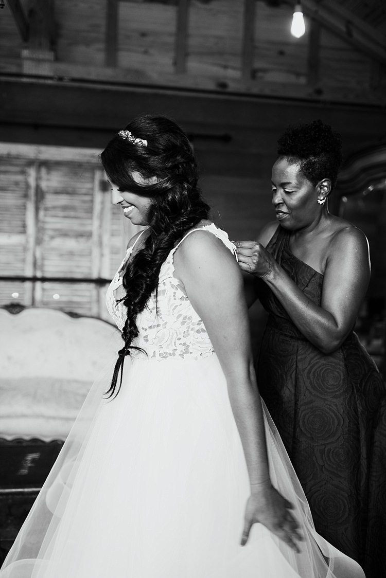 Bride Ivory Lace Tulle Haley Paige Bridal Gown Loose Braid Wooden Barn Whimsical Boho Outdoor Wedding Alabama http://belightphotography.com/