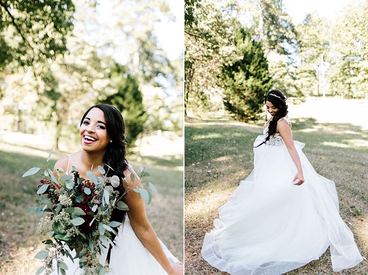 Bride Ivory Lace Tulle Haley Paige Bridal Gown Loose Braid Fresh Wild Floral Eucalyptus Bouquet Whimsical Boho Outdoor Wedding Alabama http://belightphotography.com/