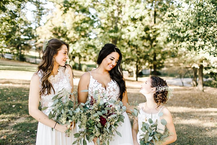 Bride Ivory Lace Tule Haley Paige Bridal Gown Bridesmaids Ivory Dresses Different Styles Fresh Wild Floral Eucalyptus Bouquets Whimsical Boho Outdoor Wedding Alabama http://belightphotography.com/