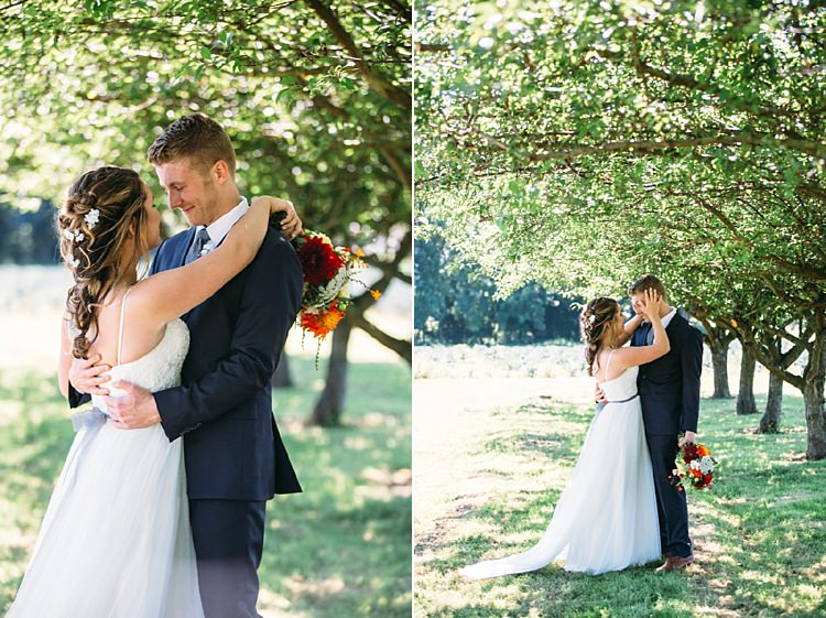 Bride Lace Tulle Bridal Gown Grey Sash Bright Orange Red Yellow Bouquet Loose Curls Hairstyle Flowers Groom Navy Blue Suit Trees Organic Farm Wedding Washington http://www.katiedayphotos.com/