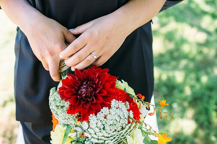 Bride Engagement Ring Bright Orange Red Yellow Bouquet Florals Organic Farm Wedding Washington http://www.katiedayphotos.com/