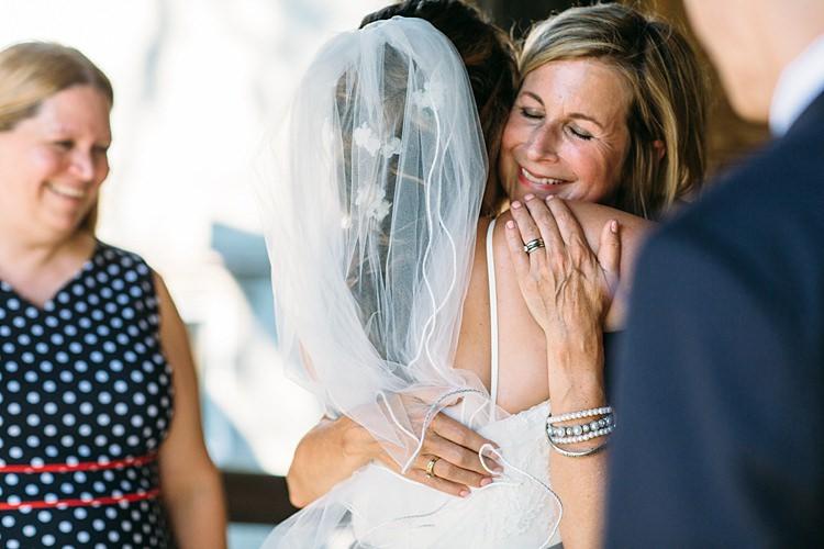 Bride Lace Tulle Bridal Gown Veil Guests Hugs Organic Farm Wedding Washington http://www.katiedayphotos.com/