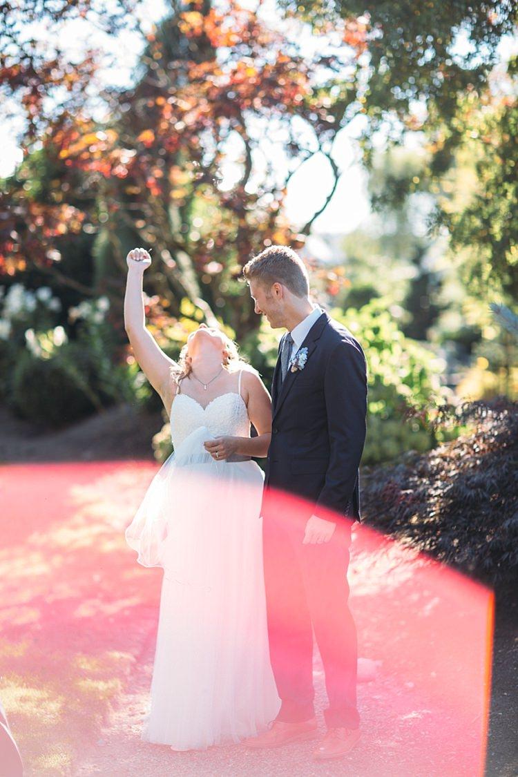 Bride Lace Tulle Bridal Gown Grey Sash Groom Navy Blue Suit Grey Tie Floral Button Hole Celebration Organic Farm Wedding Washington http://www.katiedayphotos.com/