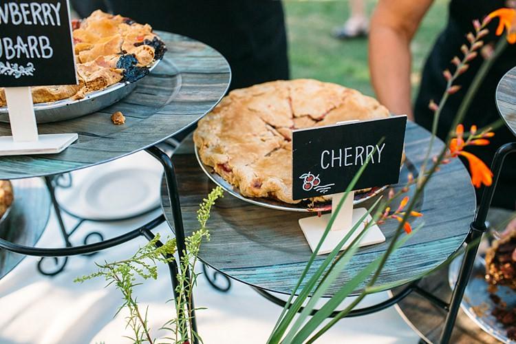 Outdoor Reception Dessert Pies Mini Handwritten Chalkboard Signs Fresh Bright Florals Organic Farm Wedding Washington http://www.katiedayphotos.com/