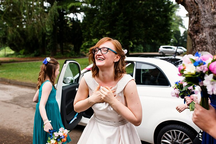 Bride Glasses Fiat 500 Car Bright Quirky Crafty Wedding http://www.babbphoto.com/