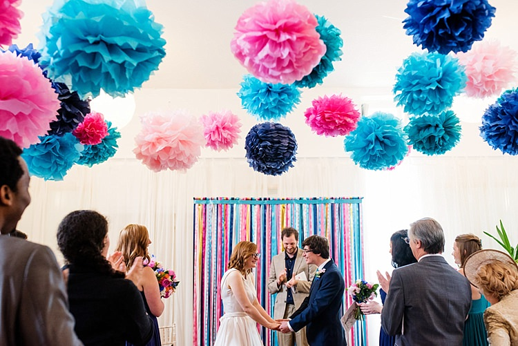 Ribbon Backdrop Pom Poms Ceremony Pink Blue Bright Quirky Crafty Wedding http://www.babbphoto.com/