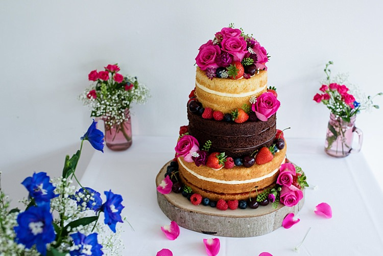 Naked Cake Sponge Victoria Layer Fruit Flowers Bright Quirky Crafty Wedding http://www.babbphoto.com/