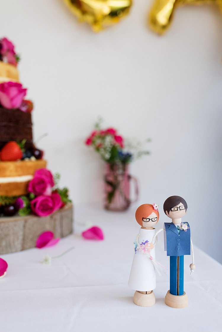 Wooden Cake Topper Bride Groom Bright Quirky Crafty Wedding http://www.babbphoto.com/