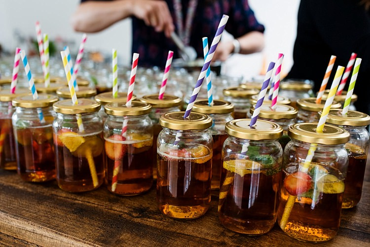 Jar Drinks Straws Bright Quirky Crafty Wedding http://www.babbphoto.com/