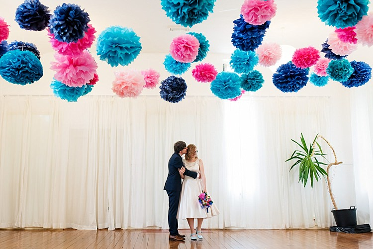 Backdrop Pom Poms Ceremony Pink Blue Bright Quirky Crafty Wedding http://www.babbphoto.com/