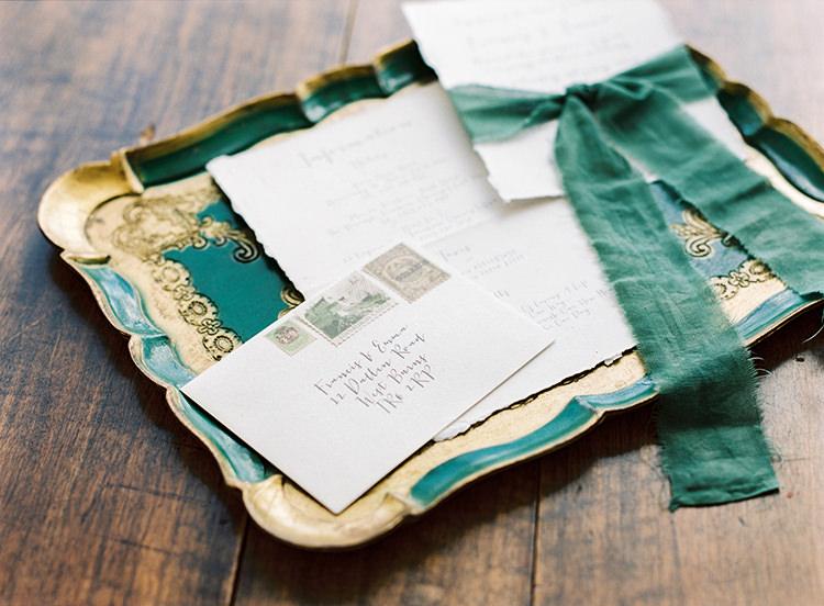 Stationery Calligraphy Ribbon Stamps Arts & Crafts Jewel Tone Wedding Ideas http://www.veronalain.com/