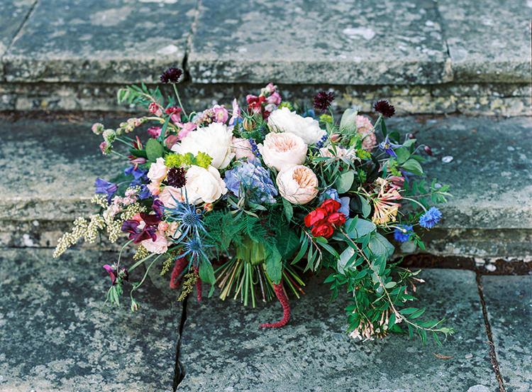 Bouquet Flowers Rich Rose Peony Red Blue Green Bride Bridal Arts & Crafts Jewel Tone Wedding Ideas http://www.veronalain.com/