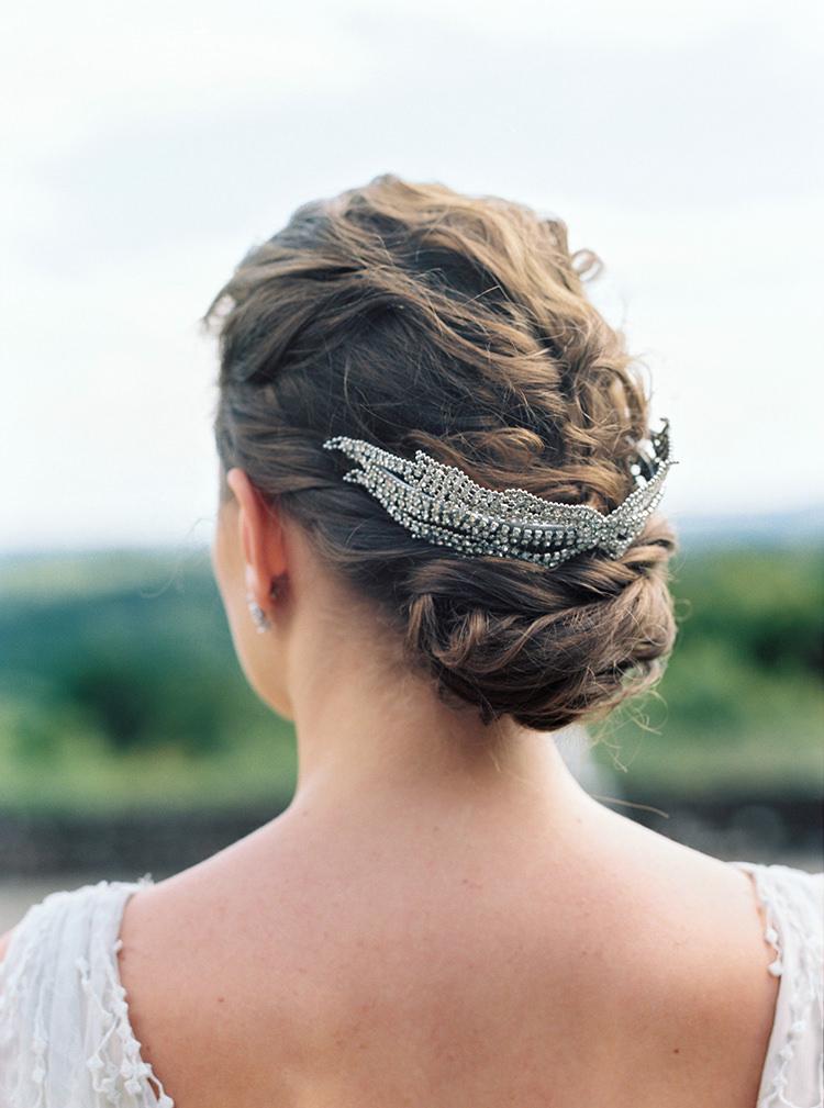 Bride Bridal Hair Up Do Style Accessory Arts & Crafts Jewel Tone Wedding Ideas http://www.veronalain.com/