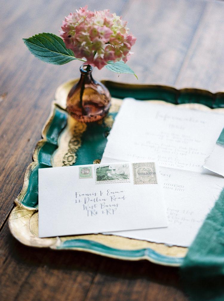 Stationery Calligraphy Envelope Stamps Arts & Crafts Jewel Tone Wedding Ideas http://www.veronalain.com/
