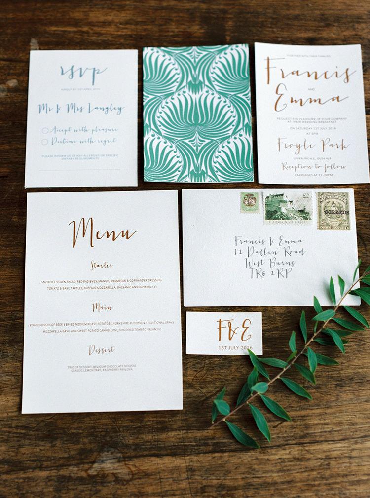 Gold Green Stationery Invitations Invites Arts & Crafts Jewel Tone Wedding Ideas http://www.veronalain.com/