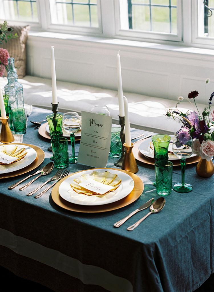 Decor Tablescape Gold Blue Candles Glasses Arts & Crafts Jewel Tone Wedding Ideas http://www.veronalain.com/