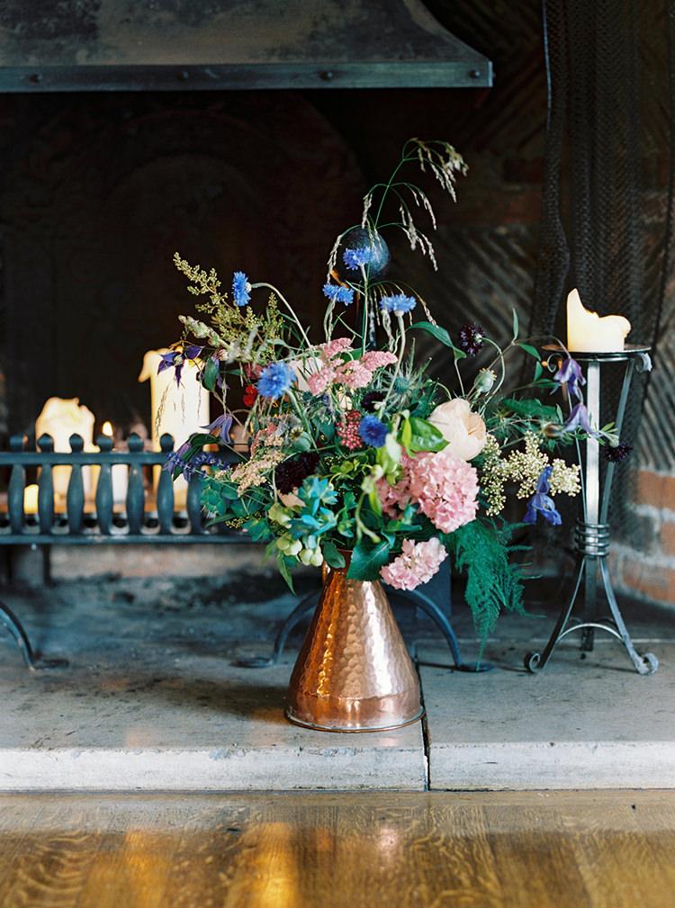 Copper Jug Flowers Decor Arts & Crafts Jewel Tone Wedding Ideas http://www.veronalain.com/