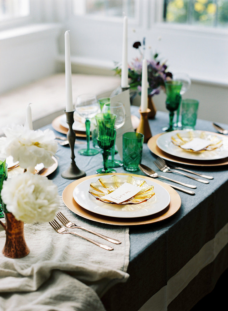Candles Gold Plates Table Scape Decor Arts & Crafts Jewel Tone Wedding Ideas http://www.veronalain.com/