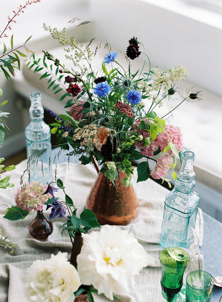 Flowers Copper Jugs Bottles Glasses Decor Arts & Crafts Jewel Tone Wedding Ideas http://www.veronalain.com/