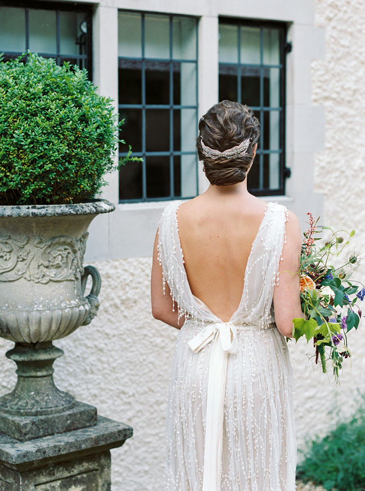 Beaded Embellished Dress Gown Bride Bridal Ribbon Low Back Arts & Crafts Jewel Tone Wedding Ideas http://www.veronalain.com/