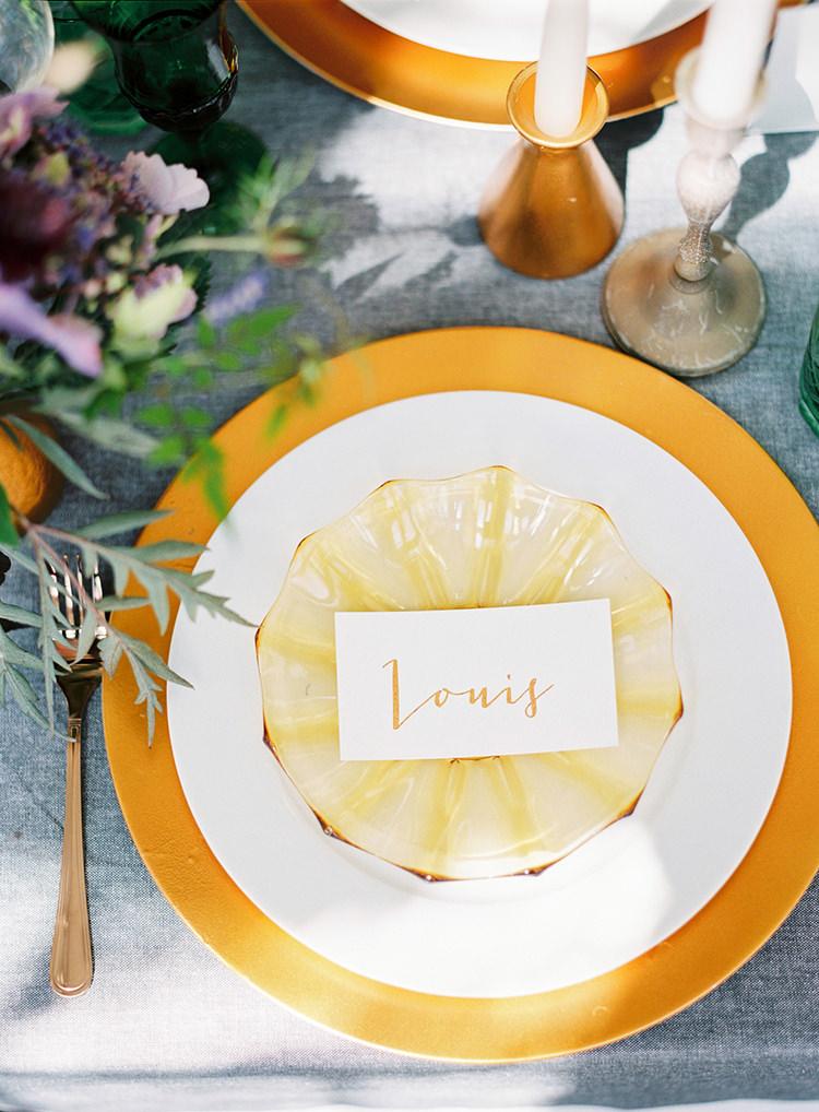 Mustard Yellow Gold Place Names Setting Plates Decor Arts & Crafts Jewel Tone Wedding Ideas http://www.veronalain.com/