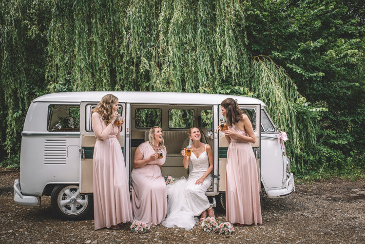 Nude Beige Short Bridesmaid Dresses Each With Their Own: DIY Summer Rustic Pink Country Wedding