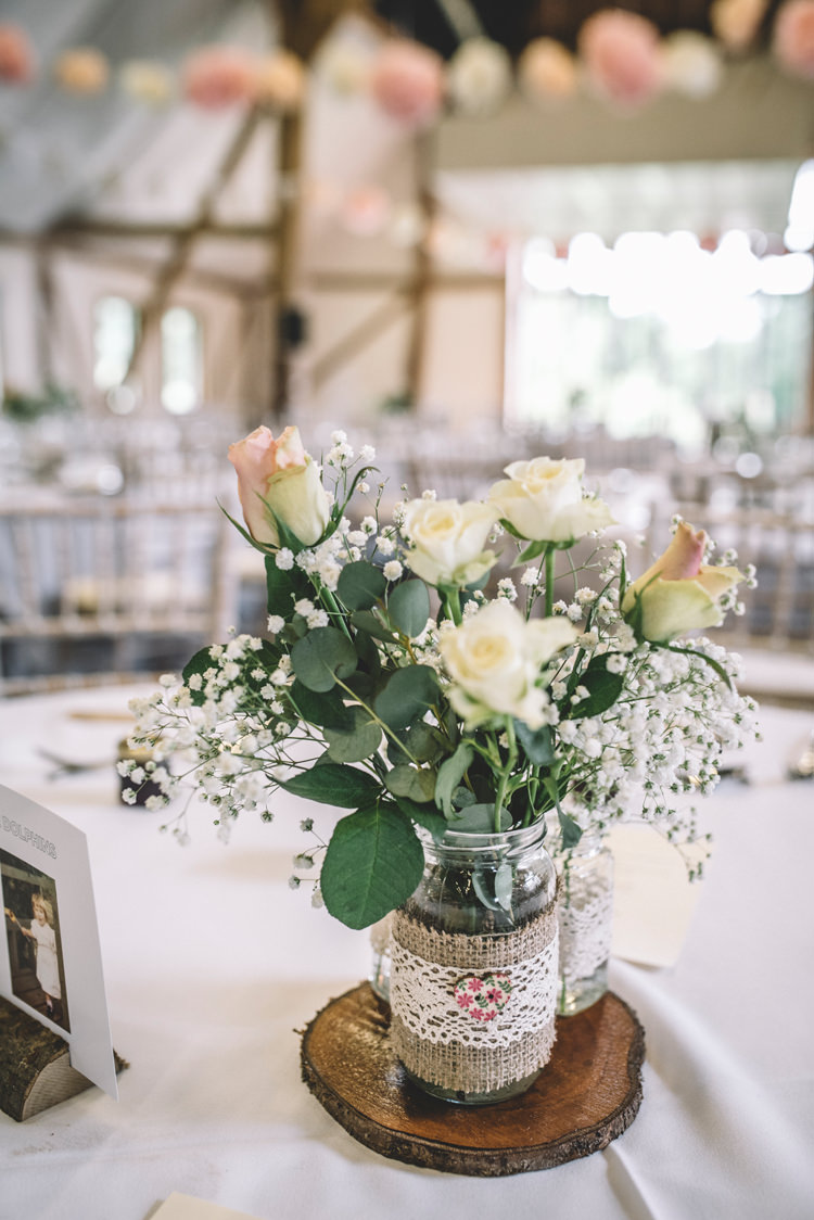 Flowers Centrepiece Log Jars Lace Hessian Decor DIY Summer Rustic Country Wedding http://www.danielakphotography.com/