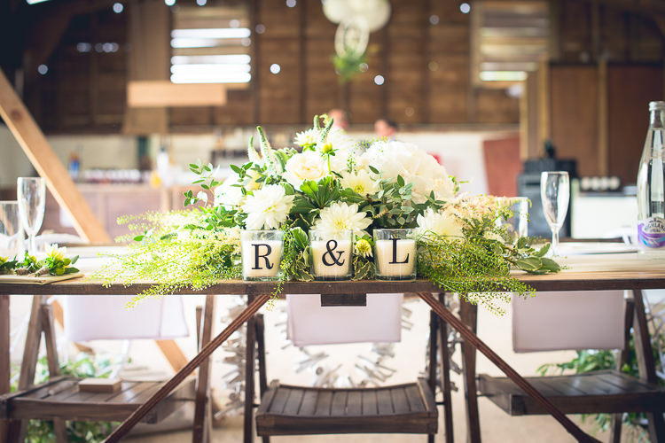 Top Table Flowers Letter Candles Decor Outdoor Boho Botanical Farm Wedding http://www.lauraophotography.com/