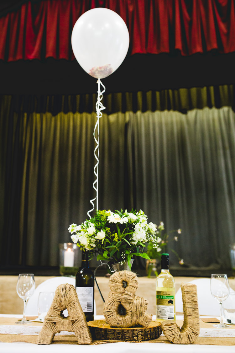 Balloon Twine Letters Log Slice Hessian Decor Stylish Relaxed Fun White Wedding http://www.livvy-hukins.co.uk/