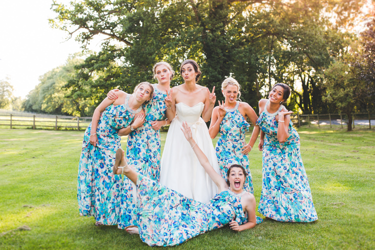 Floral Bridesmaid Dresses Long Stylish Relaxed Fun White Wedding http://www.livvy-hukins.co.uk/