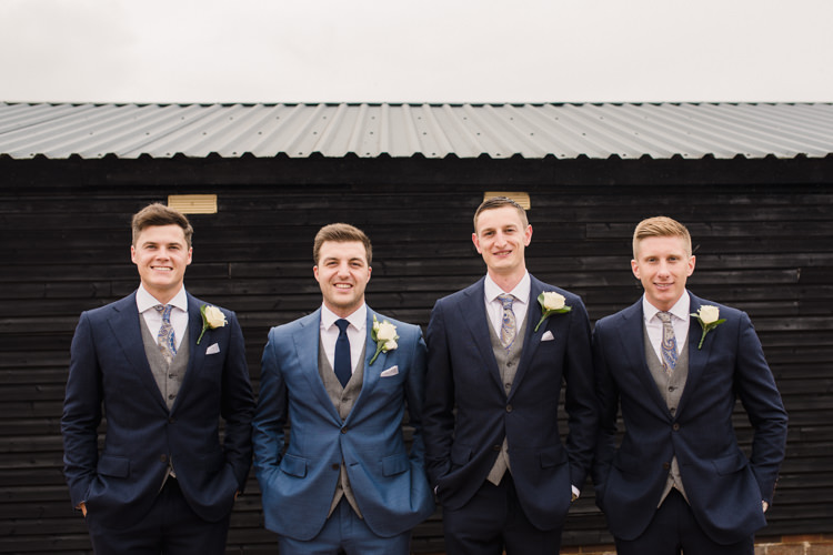 Blue Suit Groom Groomsmen Simple Elegant Pretty Barn Wedding http://www.fayecornhillphotography.co.uk/