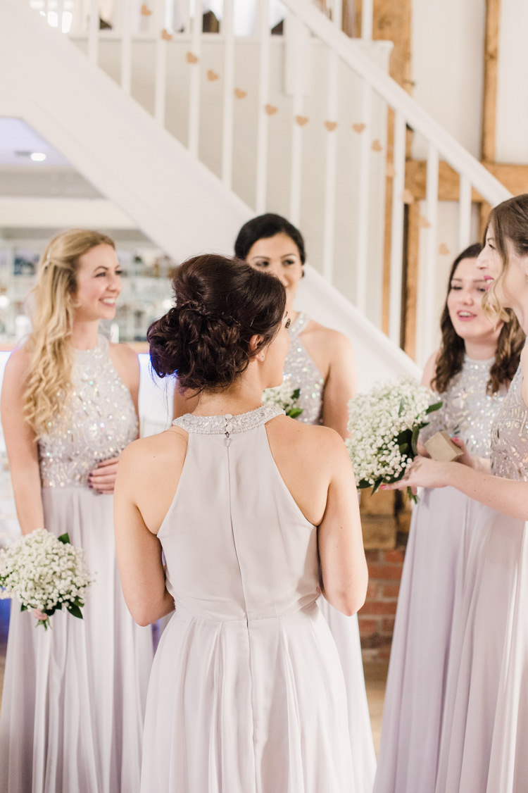 Long Lilac Grey Bridesmaid Dresses ASOS Halterneck Simple Elegant Pretty Barn Wedding http://www.fayecornhillphotography.co.uk/