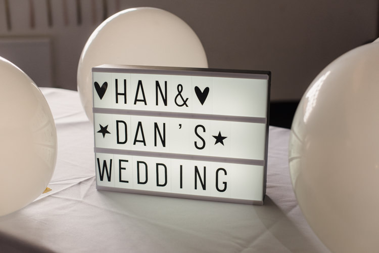 Light Box Sign Simple Elegant Pretty Barn Wedding http://www.fayecornhillphotography.co.uk/