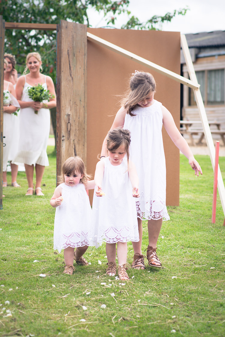 Flower Girls White Lace Dresses Sandles Outdoor Boho Botanical Farm Wedding http://www.lauraophotography.com/