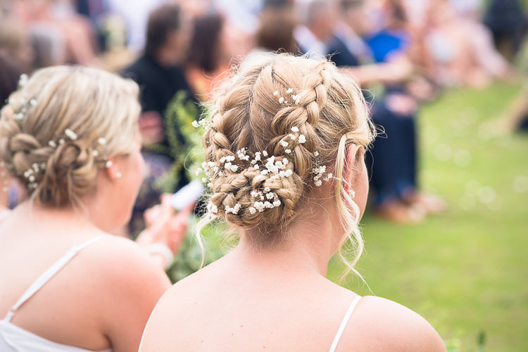 Bridesmaid Hair Flowers Plaits Braids Outdoor Boho Botanical Farm Wedding http://www.lauraophotography.com/