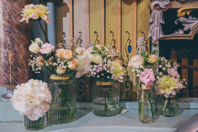 Jar Flowers Pink Pretty Teal Gold Barn Wedding http://www.mr-and-mrs-wedding-photography.co.uk/