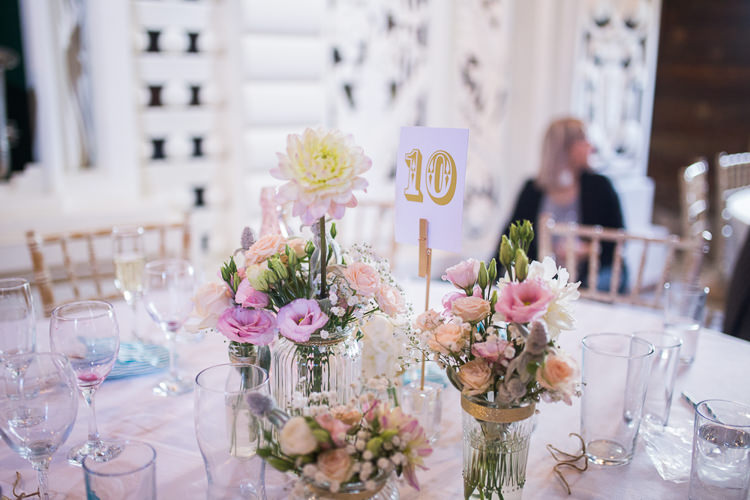 Jar Flowers Pink Pretty Centrepiece Decor Teal Gold Barn Wedding http://www.mr-and-mrs-wedding-photography.co.uk/