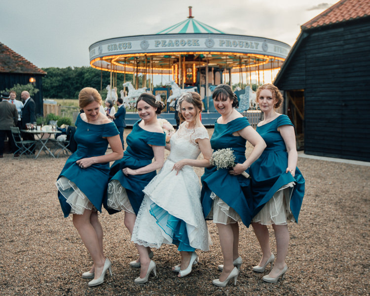 Bridesmaid Dresses Off Shoulder Petticoat Teal Gold Barn Wedding http://www.mr-and-mrs-wedding-photography.co.uk/