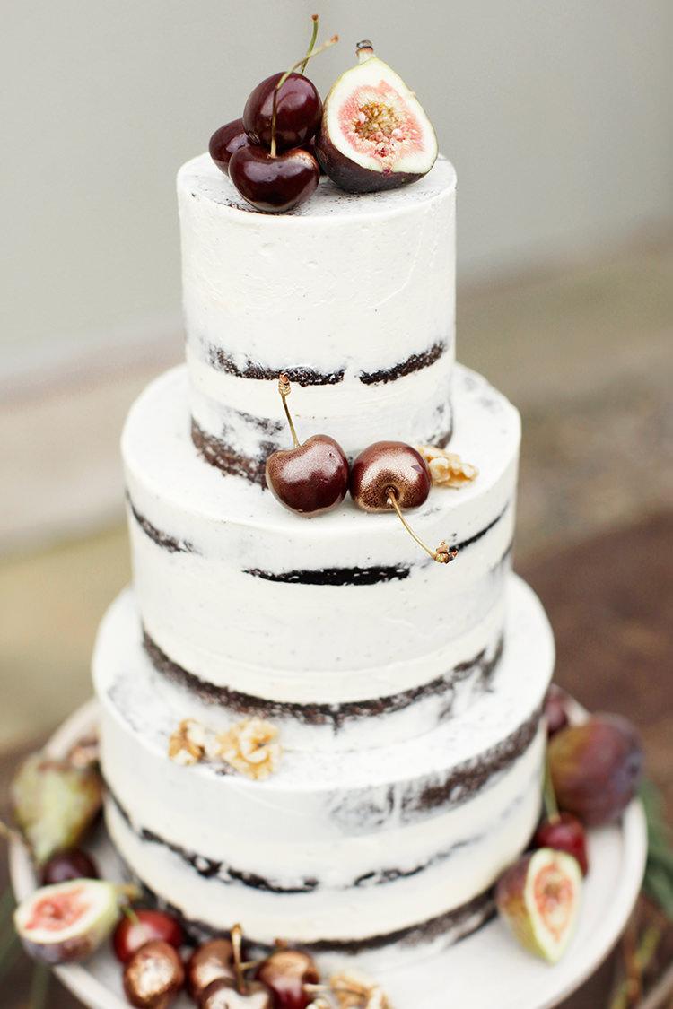 Butter Cream Naked Cake Fruit Chocolate Sponge Layer Soft Pale Fine Art Wedding Ideas http://rachelrosephotography.co.uk/