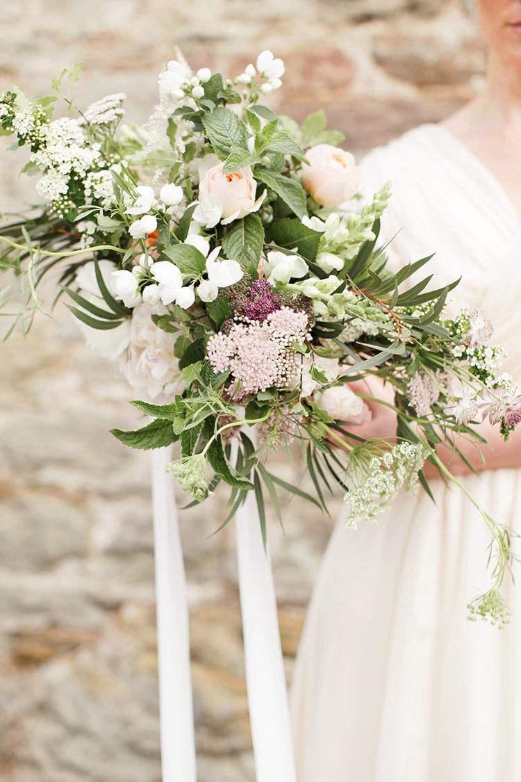 Whimsical Large Bouquet Flowers Ribbon Bride Bridal Peony Greenery Soft Pale Fine Art Wedding Ideas http://rachelrosephotography.co.uk/