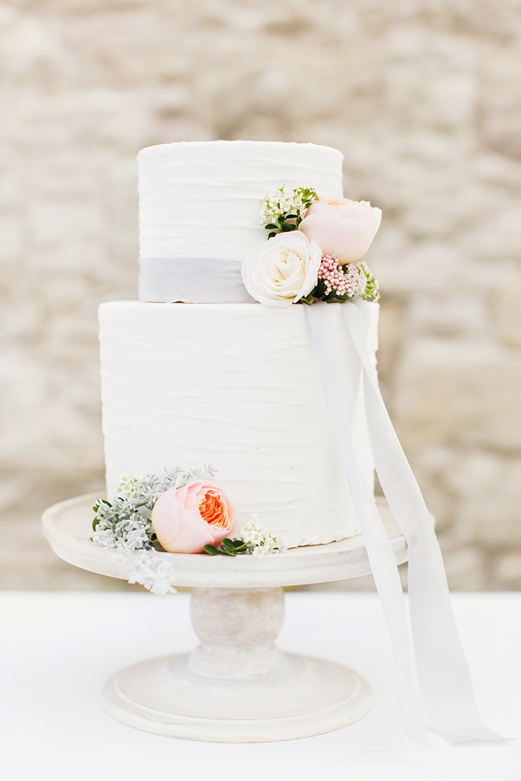 Rustic White Buttercream Cake Flowers Ribbon Soft Pale Fine Art Wedding Ideas http://rachelrosephotography.co.uk/