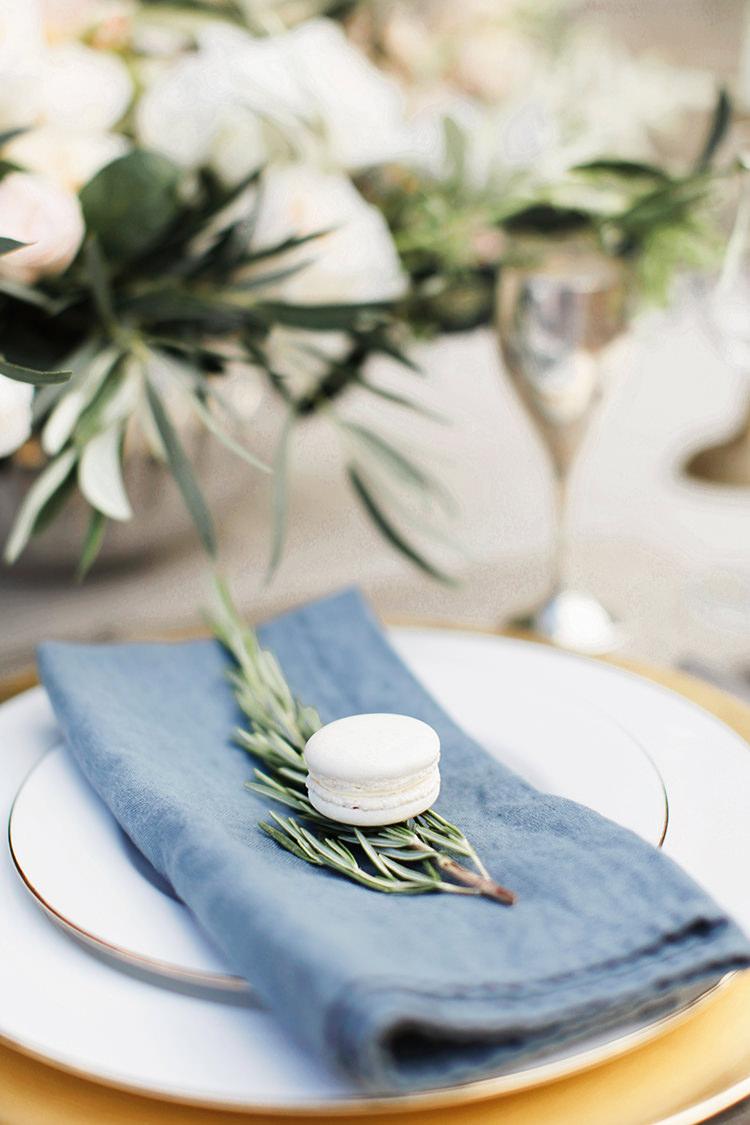 Rosemary Blue Napkin Place Setting Macaron Soft Pale Fine Art Wedding Ideas http://rachelrosephotography.co.uk/