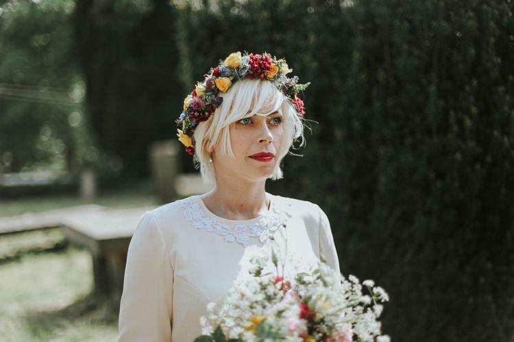 Bride Bridal Flower Crown Halo Headdress Indie Mismatched Colourful Wedding http://foxandowl.uk/
