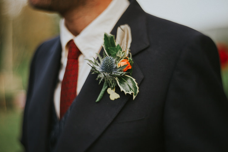 Thistle Buttonhole Feather Groom Indie Mismatched Colourful Wedding http://foxandowl.uk/