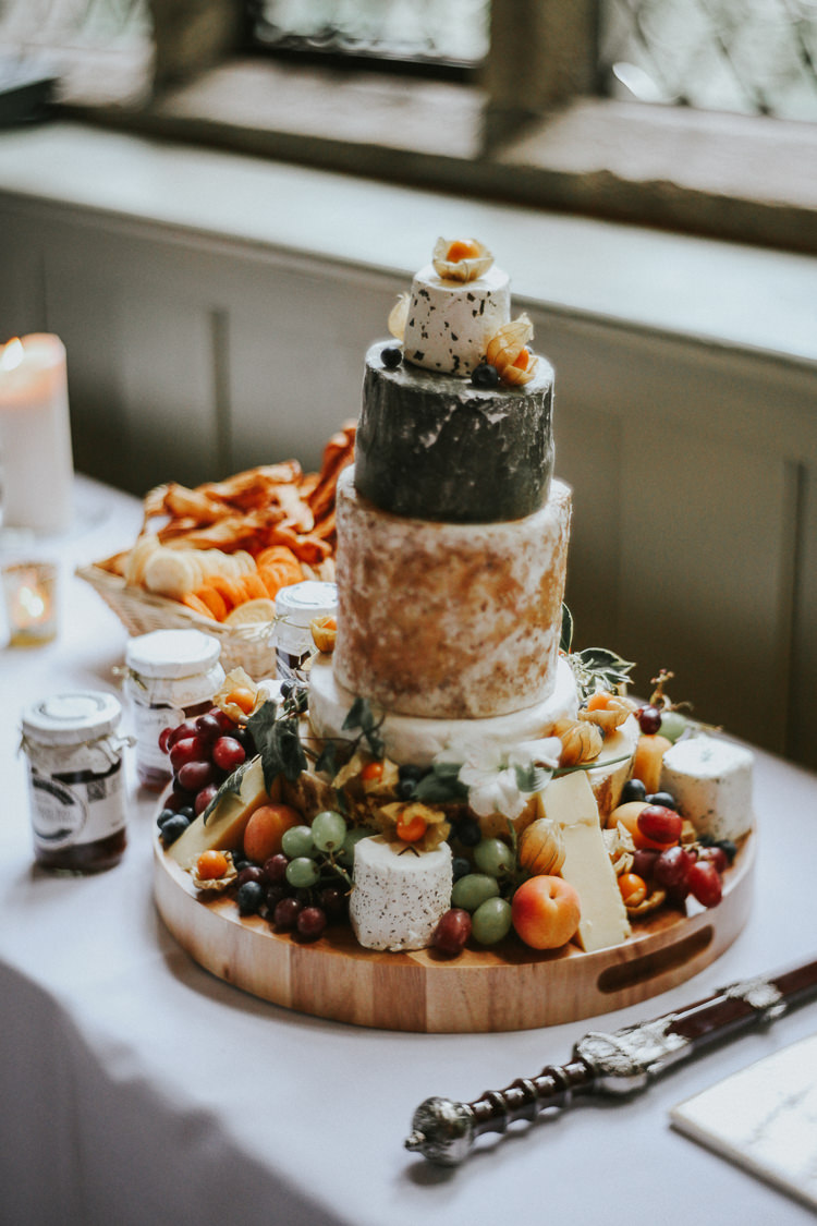 Cheese Tower Stack Cake Fruit Indie Mismatched Colourful Wedding http://foxandowl.uk/