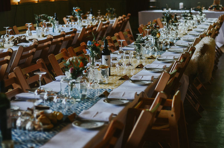 Long Tables Decor Hall Indie Mismatched Colourful Wedding http://foxandowl.uk/