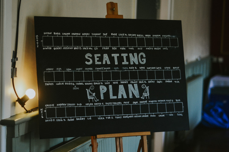 Chalk Seating Plan Table Chart Indie Mismatched Colourful Wedding http://foxandowl.uk/