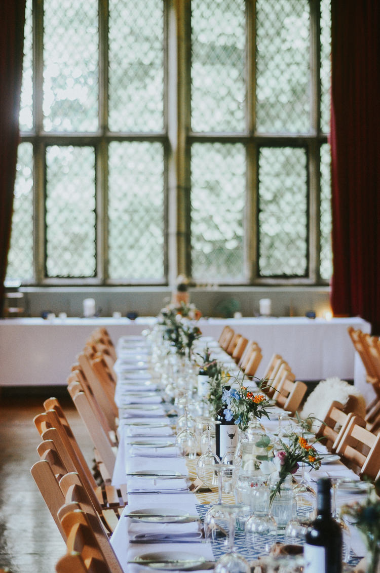 Long Table Decor Flowers Hall Indie Mismatched Colourful Wedding http://foxandowl.uk/